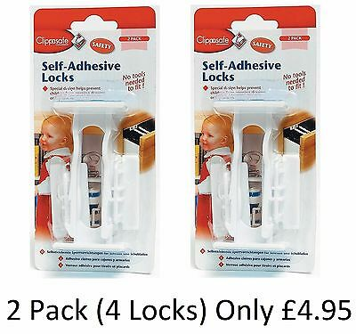 Clippasafe Self-Adhesive Cupboard & Drawer Locks 2 Pack Child Toddler Safety