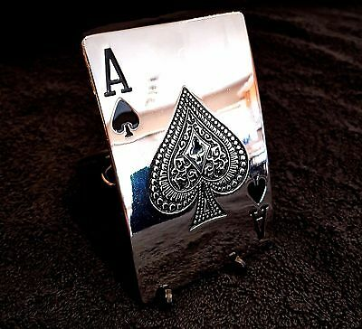 Ace Of Spades Chrome Belt Buckle Gothic Gambler Cowboy Biker Rock Fit Snap Belt