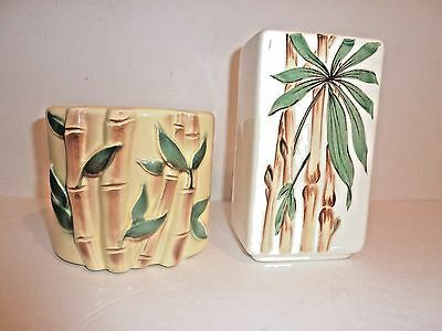 "2 Camark Vase / planter Vintage with BAMBOO MOTIF mid century 7 "" Tall"