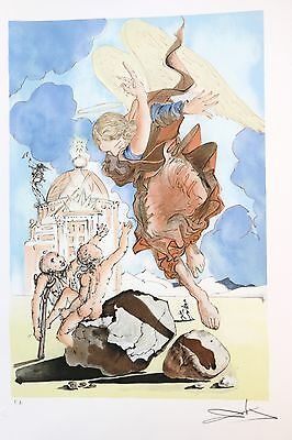 SALVADOR DALI lithograph ETERNAL ANGEL 1979 hand signed ARCHES PAPER