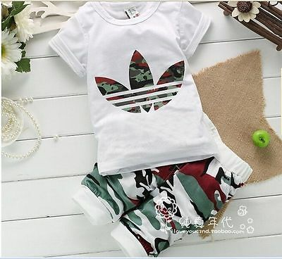 New Summer Sweater 2PCS tracksuit Boys Clothing Set Short Sleeve T-Shirt Pant