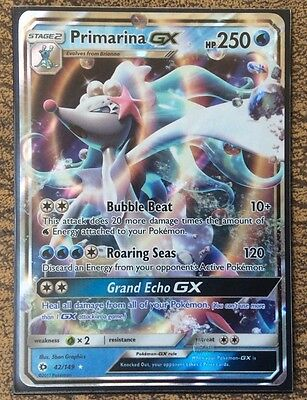 Pokemon Card   PRIMARINA GX   Ultra Rare  42/149  SUN and MOON ***MINT***