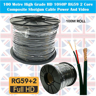100M SHOTGUN RG59 and 2CORE POWER CCTV Security Camera Cable Wire DVR Video Coax