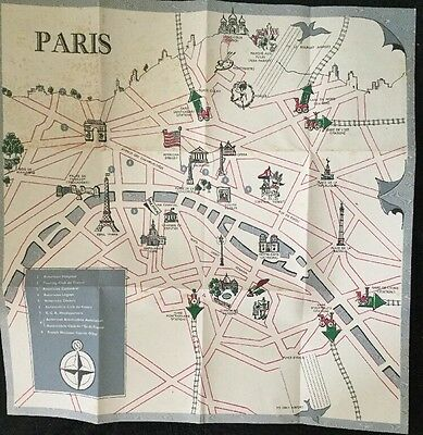 Vintage Fun Map Of Paris And On Back Is Fun Map Of France. Has Some Water Spots