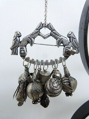 RARE and UNIQUE OLD BRAZIL SILVER PENCA DE BALANGANDAN CHARM NECKLACE