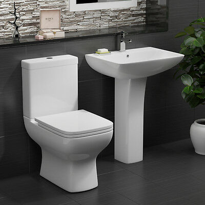 Bathroom Toilet WC Pan Dual Flush Cistern Basin Sink Pedestal Set Designer Suite