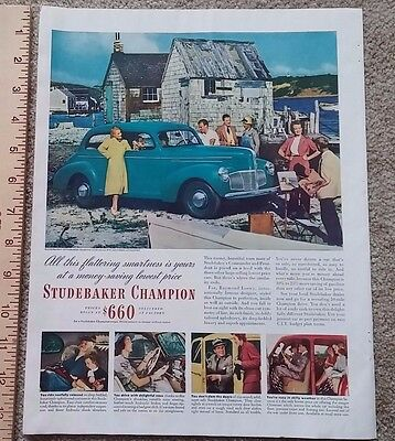 Vintage Studebaker Champion Coupe Car Green/Teal Color Print Ad Advertising