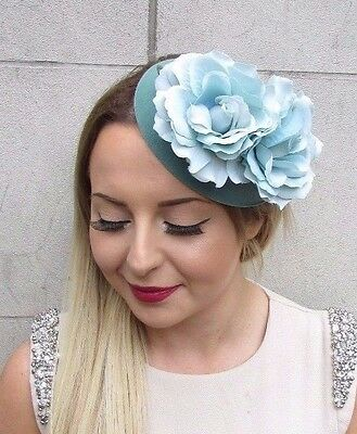 Teal Turquoise Green Rose Flower Pillbox Hat Fascinator Headpiece Races Vtg 2788