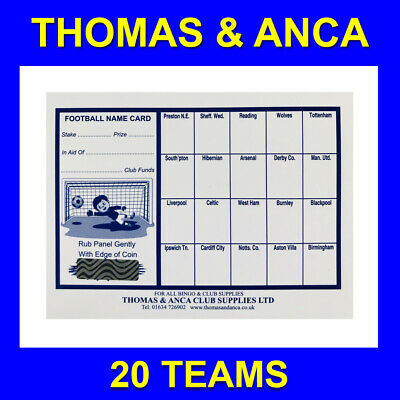 50x Charity Fundraising Football Scratch Cards - 20 Team