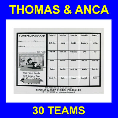 50x Charity Fundraising Football Scratch Cards - 30 Team