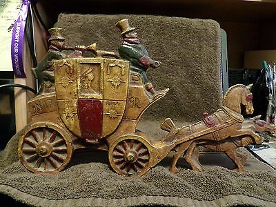 Cast Iron Horse Drawn Carriage with Driver and Hornman-Marked London Royal Mail