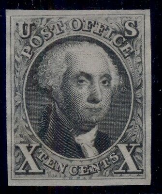 US #4 10¢ black, unused no gum as issued, ink notation on reverse, Scott $1,050.