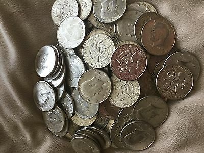 90% silver 1964 kennedy half dollars-1/2 roll-lot of 10-$5 face value