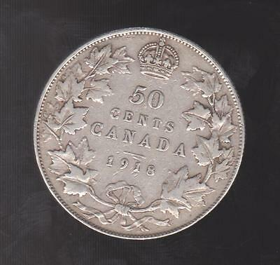 1918 Canada .925 Silver Half Dollar - 50 Cents ***VERY FINE DETAIL***