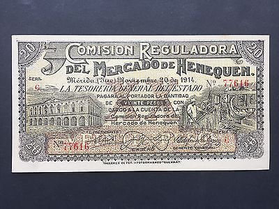 Mexico Twenty 20 Pesos PS1124 Mercado de Henequen 20th November 1914 UNC