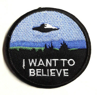 """X-Files I Want to Believe 3"""" Wide Embroidered Patch- FREE S&H (XFPA-03)"""