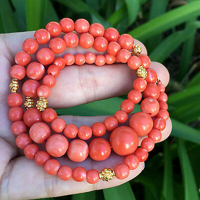 """18k Solid Yellow Gold Japanese Momo Coral Necklace 19"""" Necklace"""