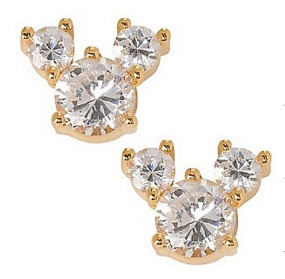 New Disney Authentic Earrings✿Gold * Crystal Mickey Mouse Icon Boxed Gift Ready