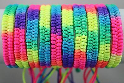 "Wholesale 50 Mixed Lots Hand-weave Colorful Braid Rainbow Bracelets 0.36""width"