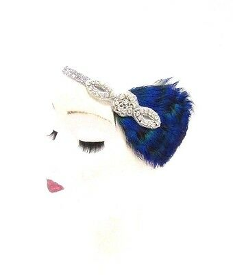 Silver Blue Green Peacock Feather Headband 1920s Flapper Vintage Headpiece 2810