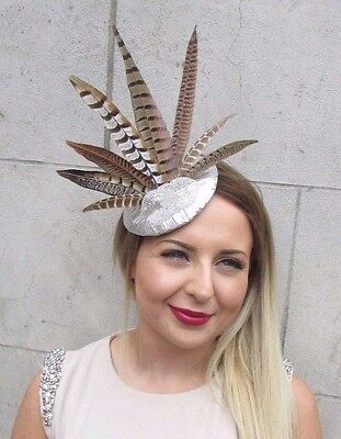 Silver Brown Pheasant Statement Feather Fascinator Pillbox Races Hat Ascot 2811