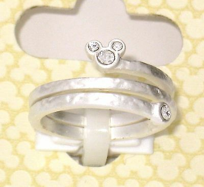New Disney Park Authentic Ring✿Mickey Mouse Silver Icon Tri Wrap Around Size 7