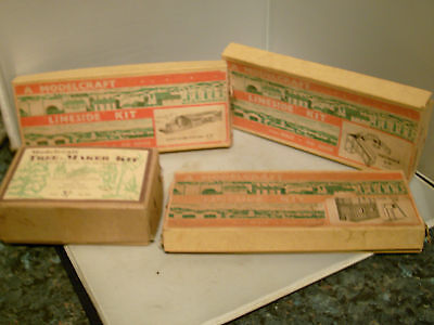 Rare Collection Of Vintage Modelcraft Building And Tree Set Boxed