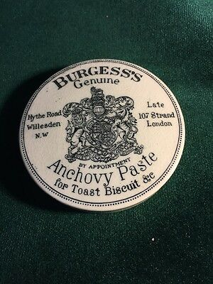 Burgess's Genuine Anchovy Paste- Victorian English Advertising Porcelain Pot Lid