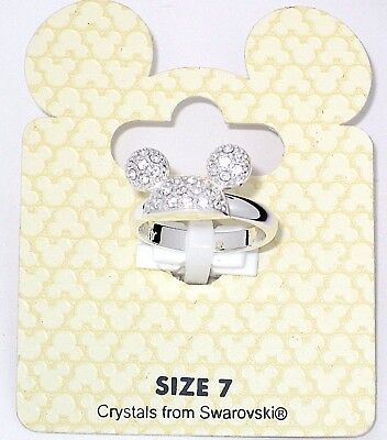 New Disney Park Authentic Ring✿Mickey Mouse Silver Crystal Icon Ear Hat Size 7