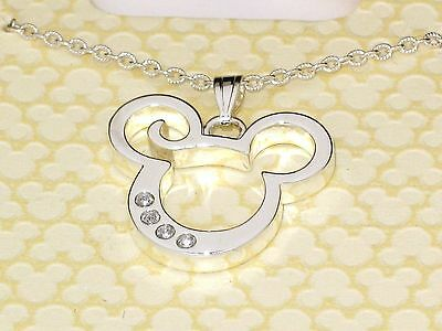 Disney Authentic Necklace✿Mickey Mouse Silver Made with Crystals from Swarovski