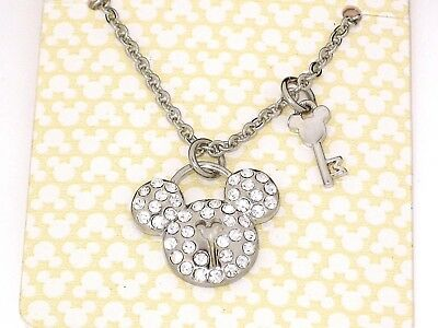 New Disney Park Authentic Necklace✿Mickey Mouse Silver Crystal Icon Key Lock Set