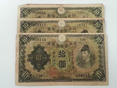 1943 Japan 10 Yen ~ 3 Notes ~ Ww Ii ~Average Circulated Condition ~Priced Right!