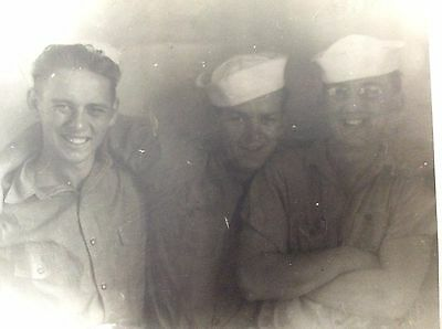 "Vintage WWII Photo of 3 Navy Sailors 8"" x 10"" B&W"