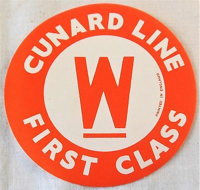 Vintage Luggage Label Cunard Line First Class W England Steamship Cruise Ship