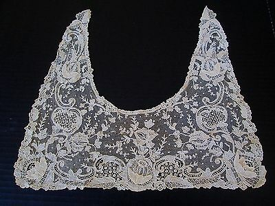 Antique Brussels Point De Gaze Lace Collar..raised Petals.. Roses