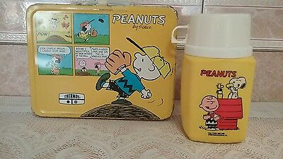 1965 Vintage Peanuts Metal Lunch Box with Thermos Good Condition Clean Rare Find