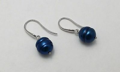 New Honora Freshwater Cultured Indigo Blue Pearl Drop Earrings Sterling Silver