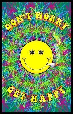 Don't Worry Get Happy - Weed Blacklight Poster - 23X35 Pot Marijuana Smiley 1980