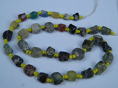 Ancient Fragment Glass Beads Strand Roman 200 BC   #ML1126
