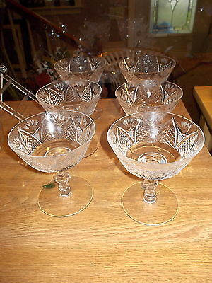 "6 Waterford Crystal DUNMORE 4 1/2"" Tall Sherbert/Champagne Glasses"