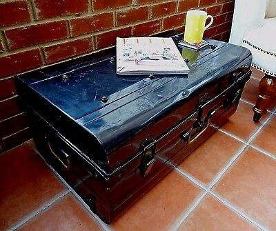 Vintage Metal Steamer Shipping Travel Trunk Chest Box Storage Black Coffee Table