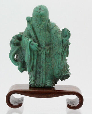 Chinese Carved Green Turquoise Wise Man Figure Lot 109