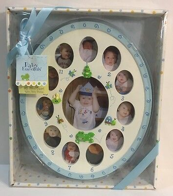 NEW AD Sutton Baby Essentials My First Year Blue Resin Photo Frame Frogs Ducks