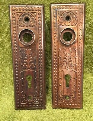 Antique Stamped Steel Victorian East Lake Doorknob Door Knob Back Plates
