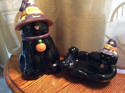 Harry And David Halloween Cat Cookie Jar Candy Dish Combo