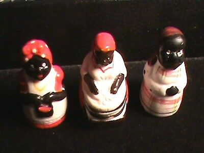 Three Vintage Black Americana  Thimbles