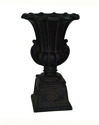 Cast Stone Urn Planter Pot Outdoor Patio Pedestal in Aged Charcoal Home Garden