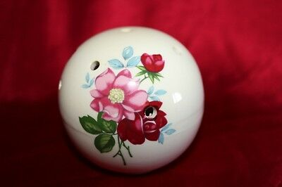 Vintage Pomander With Pink & Red Rose Theme English Ceramic