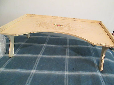 VINTAGE shabby  BED SERVING TRAY ORIGINAL WOOD & w /floral decal