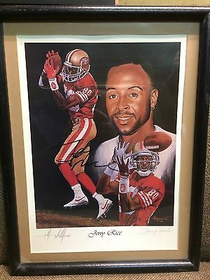 Jerry Rice Double Autographed Framed Print by Angelo Marino